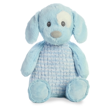 Baby Safe Stuffed Blue Puppy Little Pitter Pattern Plush by Aurora