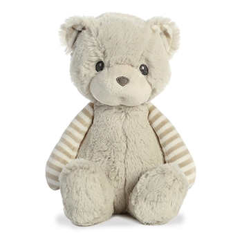Oliver the Lil' Stripeez Small Baby Safe Plush Gray Bear by Aurora