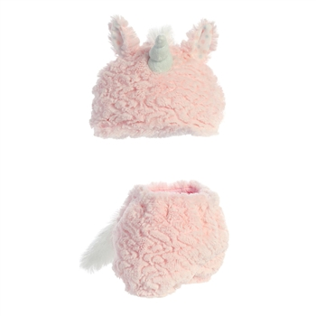 Aria the Plush Pink Unicorn Diaper Cover and Baby Hat by Aurora