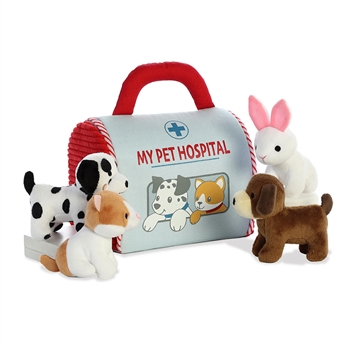 My Pet Hospital Plush Animals Playset for Babies by Aurora