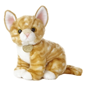 Realistic Stuffed Orange Kitten 10 Inch Plush Tabby Cat by Aurora