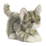 Realistic Stuffed Gray Tabby Kitten 9 Inch Plush Cat by Aurora