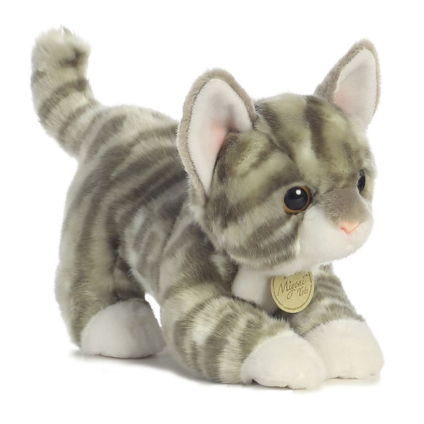 Realistic Stuffed Gray Tabby Kitten 9 Inch Plush Cat By Aurora At
