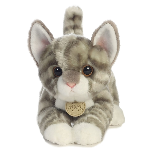 Realistic Stuffed Gray Tabby Kitten 9 Inch Plush Cat By Aurora At