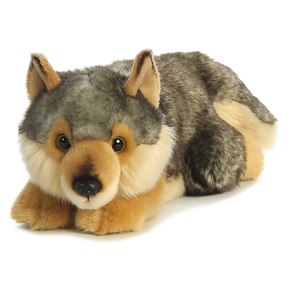 Realistic Stuffed Wolf Lying Miyoni Plush By Aurora Stuffed Safari