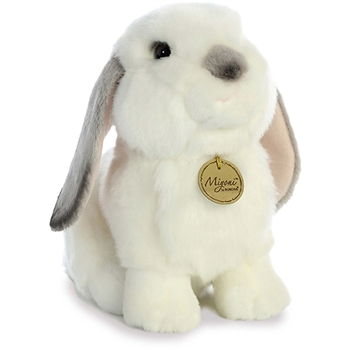 Realistic Stuffed Gray Eared Lop Rabbit 9 Inch Miyoni Plush by Aurora