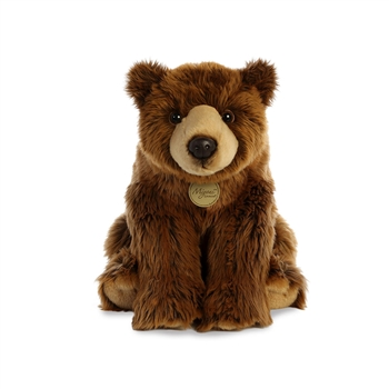 Realistic Sitting Stuffed Grizzly Bear 14 Inch Miyoni Plush by Aurora