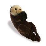 Realistic Sitting Stuffed Sea Otter 14 Inch Miyoni Plush by Aurora
