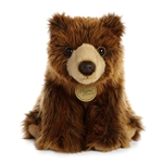 Realistic Sitting Stuffed Grizzly Bear 10 Inch Miyoni Plush by Aurora