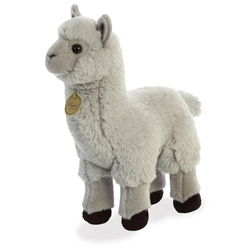 Realistic Stuffed Gray Alpaca 10 Inch Miyoni Plush by Aurora