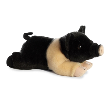 Realistic Stuffed Hampshire Pig 10 Inch Miyoni Plush by Aurora