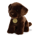 Realistic Stuffed Chocolate Lab Puppy 9 Inch Miyoni Plush by Aurora