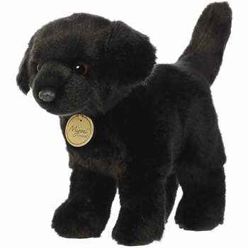 Realistic Stuffed Black Lab 10 Inch Miyoni Plush by Aurora