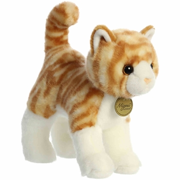 Realistic Standing Stuffed Orange Tabby Cat 10 Inch Miyoni Plush by Aurora