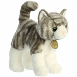 Realistic Standing Stuffed Gray Tabby Cat 10 Inch Miyoni Plush by Aurora