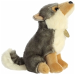 Realistic Sitting Stuffed Wolf Miyoni Plush by Aurora