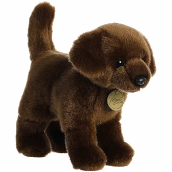 Realistic Stuffed Chocolate Lab 10 Inch Miyoni Plush by Aurora