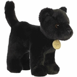 Realistic Stuffed Standing Black Panther Miyoni Wild Cat Plush by Aurora