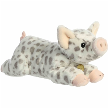 Realistic Stuffed White Spotted Piglet 14 Inch Miyoni Plush by Aurora