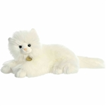 Realistic Stuffed White Persian Cat 14 Inch Miyoni Plush by Aurora