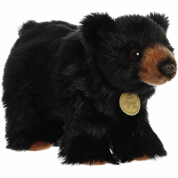 Realistic Stuffed Black Bear Cub 10 Inch Miyoni Plush by Aurora