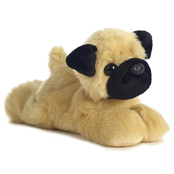 Realistic Pug Stuffed Animal, Little Stuffed Pug Mini Flopsie Aurora Stuffed Safari