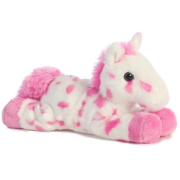 Little Stuffed Pink Spotted Horse Mini Flopsie Aurora Stuffed Safari