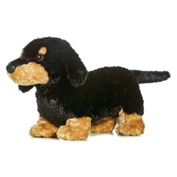 Sausage Too the Plush Black Dachshund by Aurora
