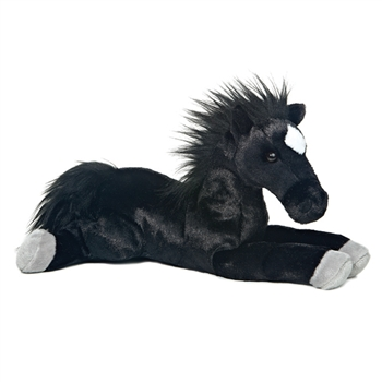 Blackjack The Stuffed 12 Inch Plush Laying Black Horse By Aurora