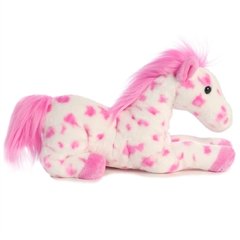 Dolly the Stuffed Pink Spotted Horse Flopsie by Aurora