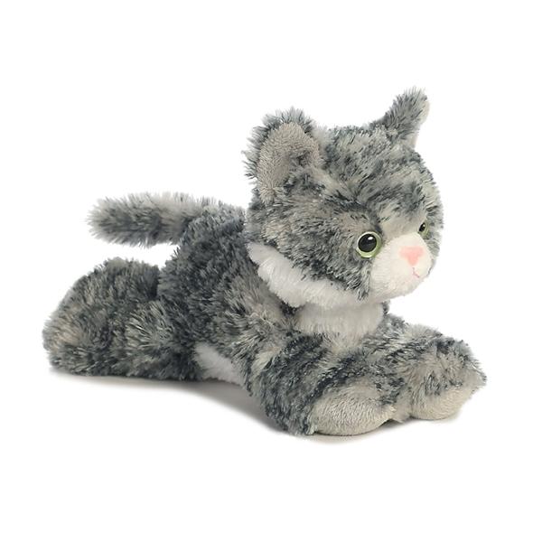 Little Stuffed Gray Tabby Cat Mini Flopsie Aurora Stuffed Safari