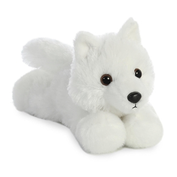 Little Ghost the Stuffed White Wolf Mini Flopsie by Aurora