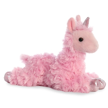 Little Daydream the Stuffed Pink Llamacorn Mini Flopsie by Aurora