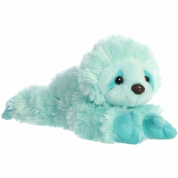 Little Minty the Stuffed Sky Blue Sloth Mini Flopsie by Aurora