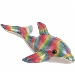 Little Disco the Stuffed Rainbow Dolphin Mini Flopsie by Aurora