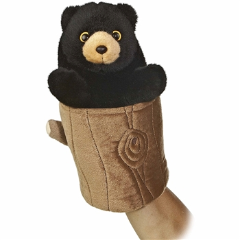 Pop Up Plush Black Bear Hand Puppet by Aurora