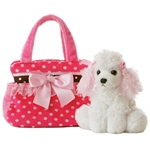 Fancy Pals Pink Polka Dot Pet Carrier with Plush Poodle by Aurora