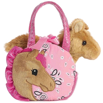 Pink Paisley Fancy Pals Pet Carrier with Plush Horse by Aurora