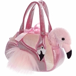 Pet Carrier with Stuffed Pink Flamingo Luxe Boutique Plush by Aurora