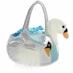 Pet Carrier with Stuffed White Swan Luxe Boutique Plush by Aurora