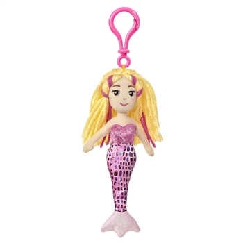 Marinna the Sea Sparkles Plush Pink Mermaid with Clip by Aurora