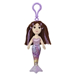Merissa the Sea Sparkles Plush Purple Mermaid with Clip by Aurora