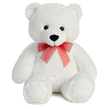 Extra Large White Teddy Bear with Red Ribbon by Aurora
