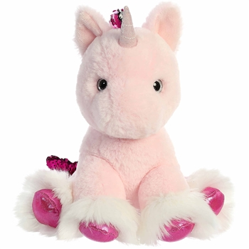 Reversible Sequin Pink Unicorn Stuffed Animal Shimmery Cloud Plush by Aurora