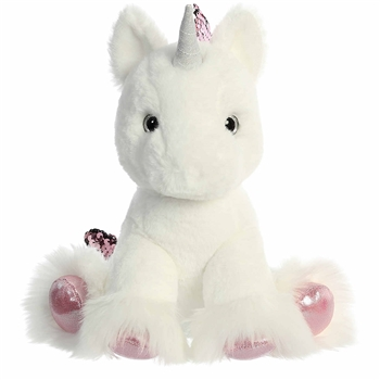 Reversible Sequin White Unicorn Stuffed Animal Shimmery Cloud Plush by Aurora