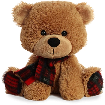 Pete D. Plaid Plush Bear with Tartan Scarf by Aurora