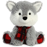Pierre D. Plaid Plush Wolf with Tartan Scarf by Aurora