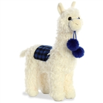 Checkers the Plush Alpaca with Blue Plaid by Aurora