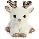 White Plush Deer with Reversible Gold Sequins by Aurora