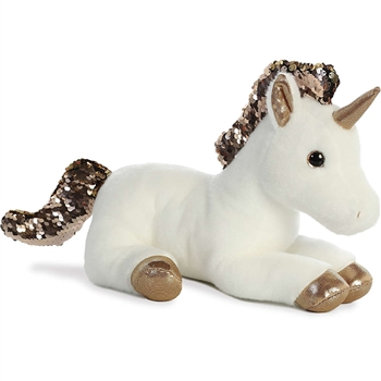 White Plush Unicorn with Reversible Gold Sequins by Aurora